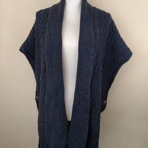Talbots Button Side Kimono Cardigan L/XL Blue